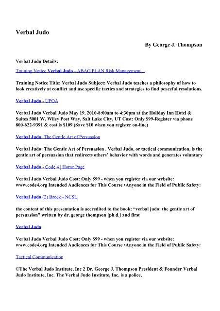 Download Verbal Judo pdf ebooks by George J  Thompson