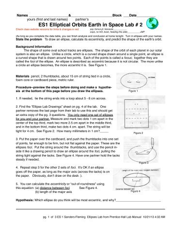 ES1 Elliptical Orbits Earth in Space Lab # 2