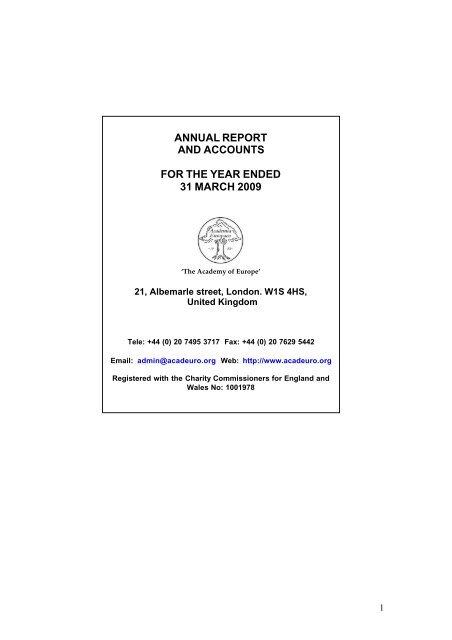 Annual report and accounts - Academia Europaea