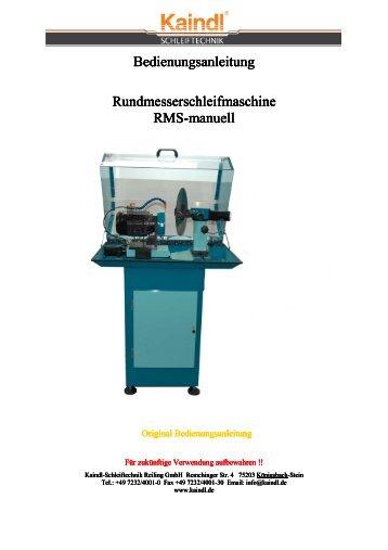 RMS manuell Bedienungsanleitung - Kaindl Schleiftechnik Reiling ...
