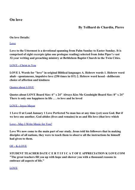 Download On love pdf ebooks by Teilhard de Chardin, Pierre