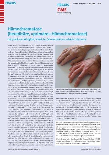 Hämochromatose (hereditäre, «primäre» Hämochromatose)