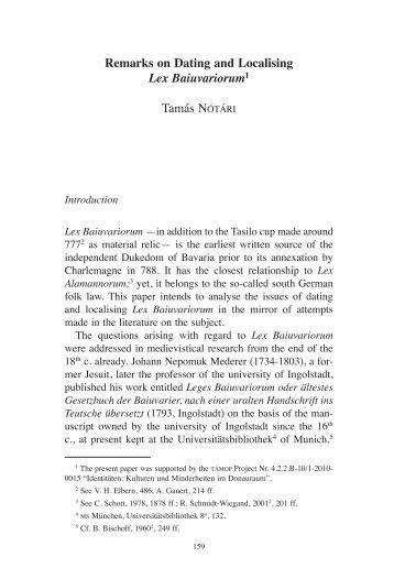 remarks on Dating and localising Lex Baiuvariorum1 tamás NÓTÁRI