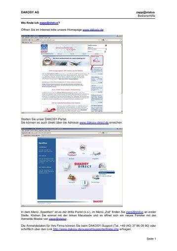 DAKOSY AG zapp@status Bedienerhilfe Seite 1 ... - DAKOSY-Direct