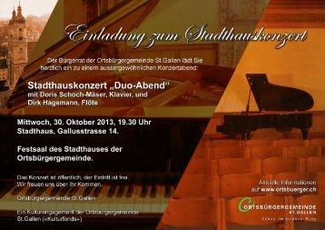 """Stadthauskonzert """"Duo-Abend"""" """" mit Doris Schoch-Mäser, Klavier, und"""
