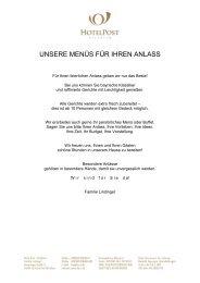 Menüvorschläge - Hotel Post in Aschheim