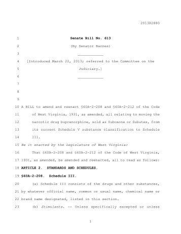2013R2880 1 Senate Bill No. 613 2 - West Virginia Legislature