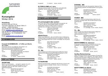 Kursprogramm Winter 2014 - Turnverein Steinheim