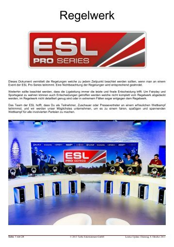 Regelwerk der ESL Pro Series