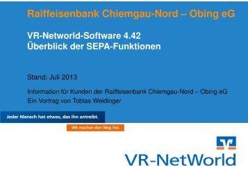 Präsentation SEPA-Funktionen der VR-Networld-Software