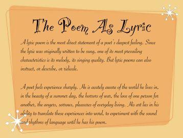 Poetry As Lyric