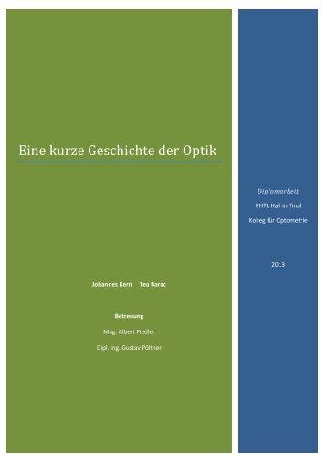 Eine kurze Geschichte der Optik - Private HTL des Landes Tirol ...