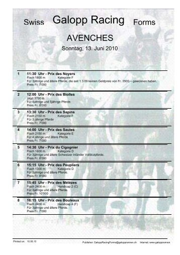 13. Juni 2010 AVENCHES Rennen 1 - Galopp Racing Forms
