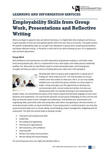Employability Skills from Group Work, Presentations and Reflective ...