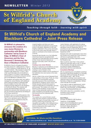 Newsletter Winter 2013 - St Wilfrid's