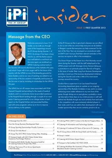 Message from the CEO - IPI Group