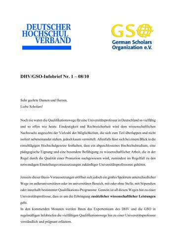 DHV/GSO-Infobrief Nr. 1 – 08/10 - German Scholars Organization