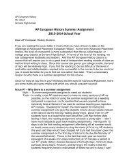 AP European History Summer Assignment 2013-2014 School Year