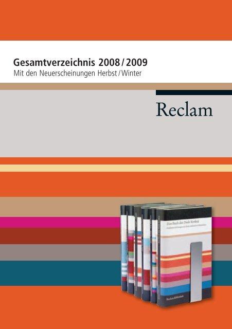 Reclam Gesamtverzeichnis 2008 2009