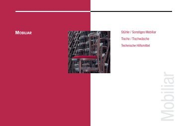 Stühle / Sonstiges Mobiliar Tische / Tischwäsche Technische ...
