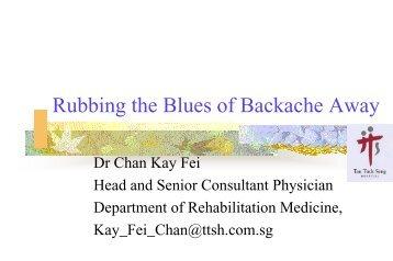 Rubbing the Blues of Backache Away - Health Promotion Board