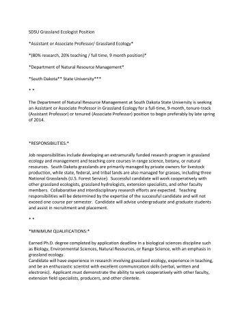 SDSU Grassland Ecologist Position *Assistant or Associate Professor