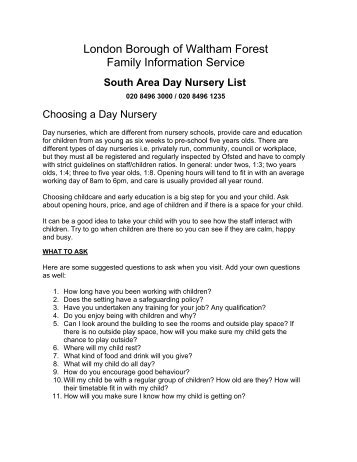 day nursery list (south) 10.01.2013.pdf - Waltham Forest Council