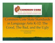 Common Core State Standards in Language Arts K-12: The Good ...