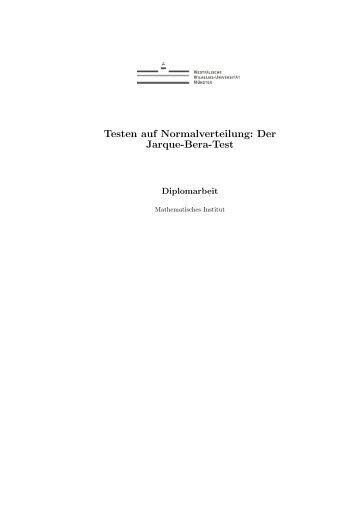 Testen auf Normalverteilung: Der Jarque-Bera-Test