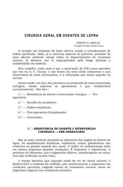 CIRURGIA GERAL EM DOENTES DE LEPRA