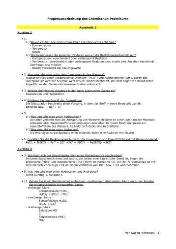 Fragenausarbeitung des Chemischen Praktikums - Welli-Net
