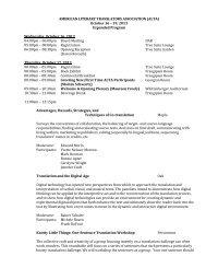 AMERICAN LITERARY TRANSLATORS ASSOCIATION (ALTA ...