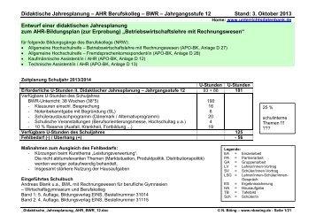 Didaktische Jahresplanung AHR BWR 12
