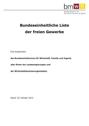 Bundeseinheitliche Liste der freien Gewerbe - Vorarlberg