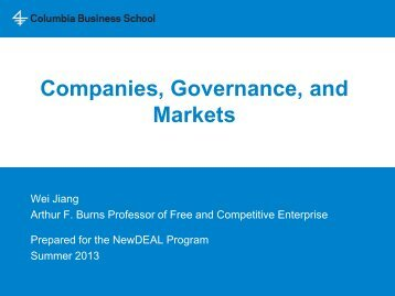 Companies, Governance, and Markets - Columbia Business School