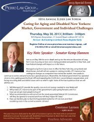 2013 Elder Law Forum Invitation and Agenda - Pierro & Associates, LLC