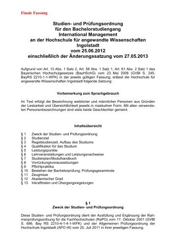 Satzung - Hochschule Ingolstadt
