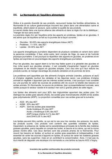 III. La Normandie et l'équilibre alimentaire - Irqua Normandie