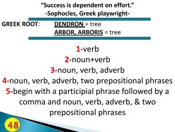 1-verb 2-noun+verb 3-noun, verb, adverb 4-noun, verb, adverb, two ...