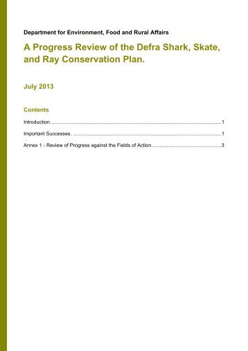 A progress review of the Defra shark, skate, and ray ... - Gov.uk