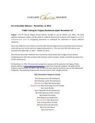 Nov 2012 Voting PR - Calgary Choice Awards