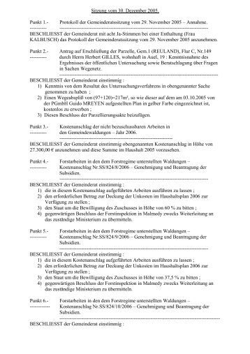 Sitzung vom 30 - Gemeinde Burg-Reuland