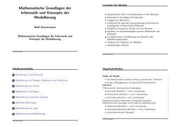 Mathematische Grundlagen der Informatik und Konzepte der ...