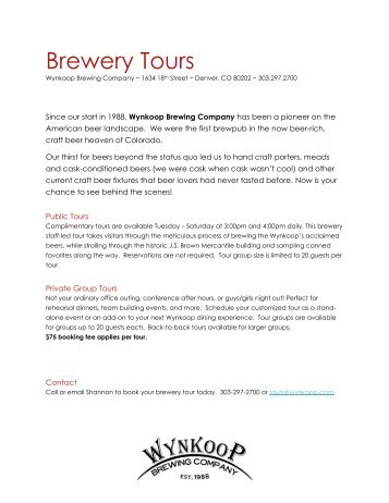 Brewery Tours - Wynkoop Brewing Company
