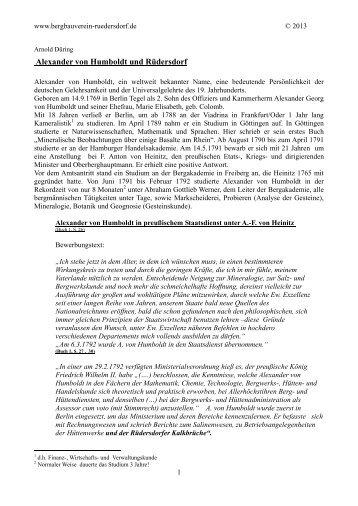 Alexander von Humboldt und Rüdersdorf - Bergbauvereins ...