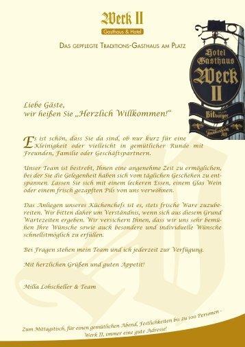 """wir heißen Sie """"Herzlich Willkommen!"""" - Werk II: Gasthaus, Hotel und ..."""