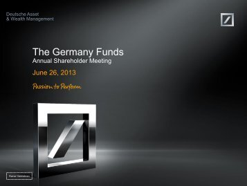 The 2013 Germany Funds Shareholder ... - DWS Investments