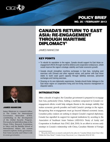 Canada's Return To East Asia: Re-engagement Through Maritime ...