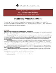 SCIENTIFIC PAPER ABSTRACTS - Southern Medical Association