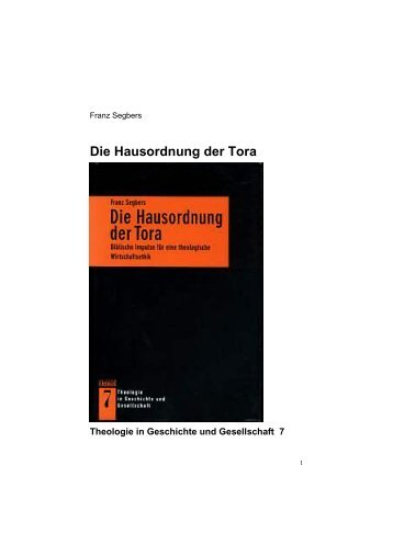 Die Hausordnung der Tora - Prof. Dr. Franz Segbers